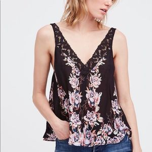 FREE PEOPLE Black Floral Lace Rose Cami Tank Top